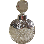 English Hallmarked Sterling Silver & Crystal Perfume Bottle - Red Tag Sale Item