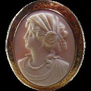 10 Karat Gold & Angel Skin Coral Cameo Pendant/Brooch Circa 1900