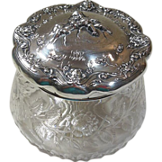 Cut Glass & Sterling Silver Vanity Container