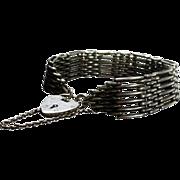 Sterling Silver Hallmarked English Gate Link & Padlock Bracelet