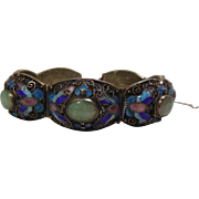 Chinese Silver Filigree (800/1000), Enamel & Jadeite Cabochon Panel Bracelet, Circa 1920-30