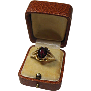 English Garnet & 9 Carat Gold Dress Ring