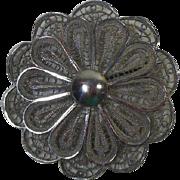Large Sterling Silver Filigree Brooch