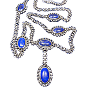 Sterling Silver Book Chain/Mesh,& Lapis Lazuli Jewel Necklace circa 1910-30's