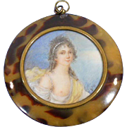 Miniature Hand Painted Portrait of Young Lady