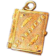 Antique Book Charm/Pendant of St Andrews, Scotland