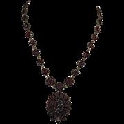 Victorian Bohemian Garnet Locket/Brooch & Garnet Rosette Necklace 1837-1901
