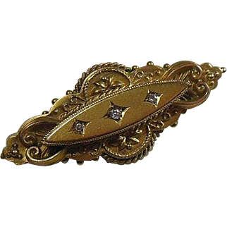 Sweetheart Brooch 15 Carat Gold & Diamond, Circa 1900-1920
