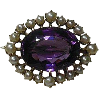 14 Karat Gold, Amethyst and Cultured Pearl Brooch