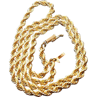 14 Karat Gold Rope Neck Chain Circa 1970-80