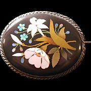 Italian Antique Pietra Dura Brooch, Circa 1837-1901