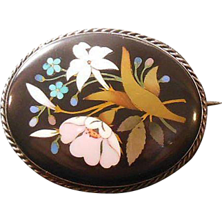 Italian Antique Pietra Dura Brooch, Circa 1837-1901