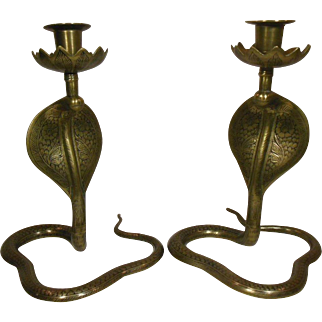 Pair of Brass Cobra Snake Model Candleholders, Circa 1920-40