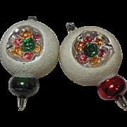 Vintage Snow Sprayed Shiny Glass Christmas Ornaments (Pair)