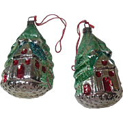 Pair Shiny Vintage Glass Christmas Ornaments- Tree Houses