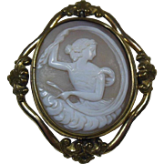 Carved Shell Cameo Psyche Swivel Brooch circa 1850-90