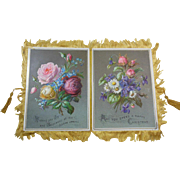 Large Victorian  Silk Fringed Christmas Card/Greeting/ Keepsake Circa 1890-1900, Roses, Lilly-of-the-valley,Pansy,Daisy,Forget-me-nots, Doublesided