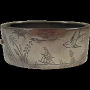 Aesthetic Movement (1870-1900) Wide Bangle Bracelet- Bird/Ship/Palm Landscape/Sun/Cloud