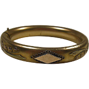 Gold Filled Bangle Bracelet by M S Co Decorated with Lily of The Valley Flower applique Circa 1900-20
