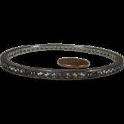 Sterling Silver 925/1000 & Austrian Crystal Gem Cut Eternity Bangle Bracelet Circa 1920-1940's