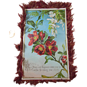 Large Silk Fringed Christmas Greeting Card/Keepsake Doublesided by Raphael Tuck & Sons (copyright)Victorian Era (1837-1901) Flowers