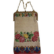 Large Beaded Purse with Silk Liner Roses Circa 1900-1925