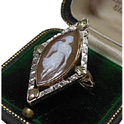 10K Gold Carved Shell Cameo Ring Circa 1890-1930