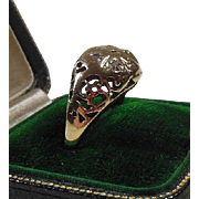 10K Gold & Diamond Domed Filigree Dress Ring