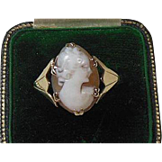 9 K Gold & Shell Cameo Dress Ring