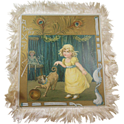 Victorian Era 1837-1901 Christmas Greeting Card/Keepsake Silk Fringed Pug dog/little girl/doll
