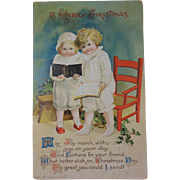 Christmas Postcard Ellen H Clapsaddle by I.A.P. Co. Series 1896/ Children with Books