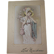 Edwardian Lady in Bonnet Christmas Card 1907, Printed Greeting Poem and Printed Family Signature, Unusual