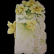Antique Christmas Card Greeting, Raphael Tuck & Sons, Best Wishes, Daffodils, Poem Keepsake