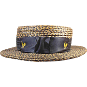 Vintage Gentleman's  Straw Boater Hat, Great for Dad