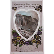 Rotery Photographic Series English Christmas Greeting Card & New Year Wishes/Heart & Pansy