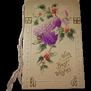 Antique Embossed Christmas Card Greeting/Keepsake Bell&Holly/Poem