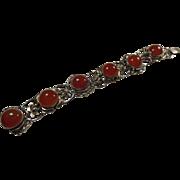 Vintage Carnelian Cabochon & Gilt Silver (800/1000) Bracelet, Open work/Lotus
