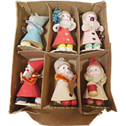 Vintage Set of 6 Christmas Gnomes Decoration Standups