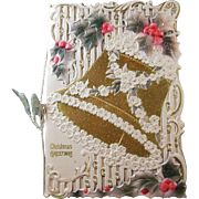 Vintage Christmas Card/Poem/Keepsake Greeting Bell and Holly