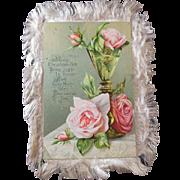 Antique Victorian Era (1837-1901, Edwardian, Christmas Card/Poem/Keepsake, Doublesided, Silk Fringe