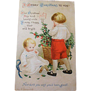 Antique Christmas Post Card, Embossed, Date stamped 1914, Ellen H Clapsaddle, Children and Holly Basket - Red Tag Sale Item