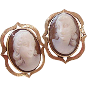 Carved Hard Stone Cameo Earrings 14 K Gold