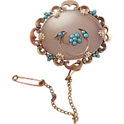 Victorian(1837-1901) Chalcedony and Persian Turquoise Remembrance/Memorial Brooch