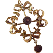 9 Carat gold and Amethyst Lavalier Pendant/Brooch