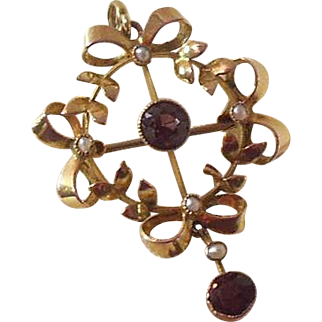 9 Carat gold and Amethyst Lavalier Pendant/Brooch