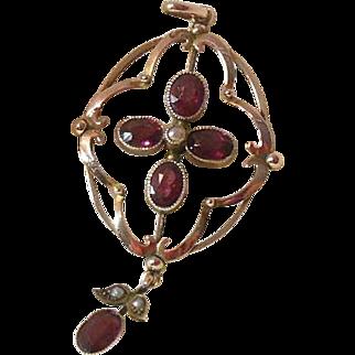 9 Carat Rose Gold and Garnet Lavalier Pendant, Circa 1910