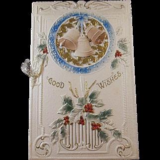 Embossed and Gilt Good Wishes Christmas Card/Greeting/Keepsake circa 1900-20