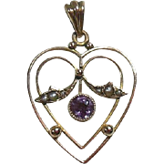 9 Carat Rose Gold and Amethyst Lavalier Pendant Circa 1910
