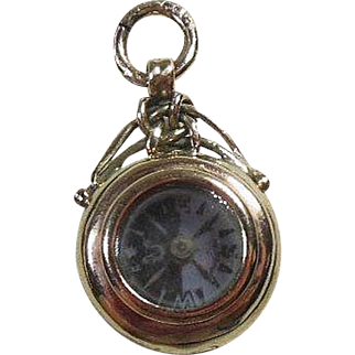 English Hallmarked 9 Carat Gold(9 .375) Compass Pendant/Charm/Fob Circa 1900-1920