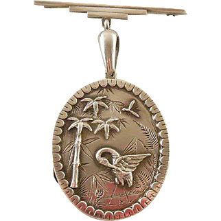Victorian Sterling Silver (925/1000) Aesthetic Period Locket Circa 1880-1900, Crane, Fern, Bamboo Tree and Dragon Fly